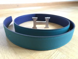 HERMES Gürtel Kalbsleder blau 95 cm NEU!!