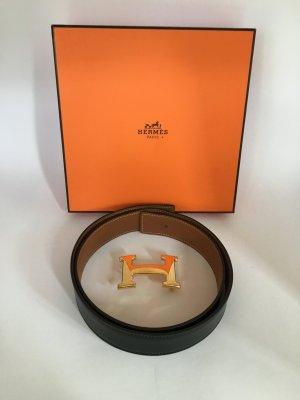 Hermès Gürtel Wendegürtel mit goldener Schliesse 80 Schwarz Gold
