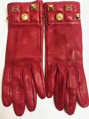 Hermes Handschuhe Leder rot Gr. 6,5