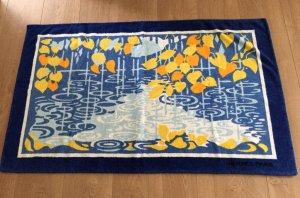 Hermes Handtuch Groß Blau Weiß Gelb Orange Saunatuch Strandlaken Badetuch
