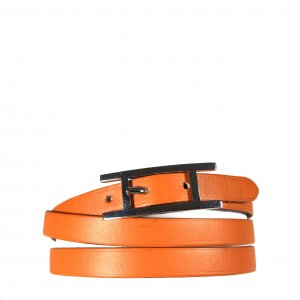 HERMÈS HAPI 3 MM ARMBAND AUS LEDER IN DEN FARBEN ORANGE/PALLADIUM