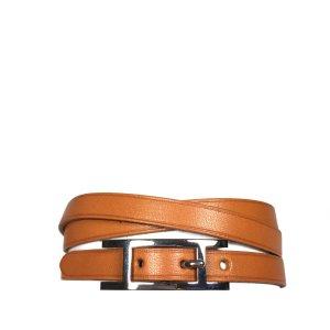 Hermès Hapi 3 MM Armband Wickelarmband Farbe Braun Palladium