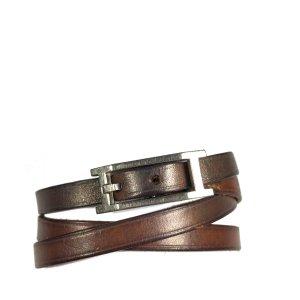 Hermès Hapi 3 MM Armband Wickelarmband Leder Farbe Braun Palladium