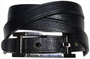 Hermès Hapi 3 MM Armband Wickelarmband Leder Farbe Schwarz Palladium