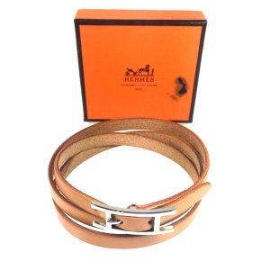 Hermès Hapi 3 MM Wickelarmband Armband Leder Farbe Braun Silber