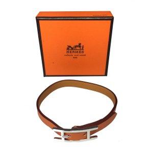Hermès Hapi Singe Tour Armband Leder Farbe Orange Braun Palladium