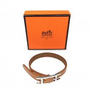 Hermès Hapi Single Tour Armband aus Leder Farbe Braun Palladium