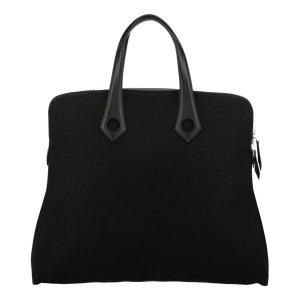 Hermès Heebo Tasche, Handtasche, Henkeltasche aus Leder und Textil in Schwarz