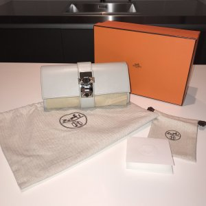 Hermes Hermès Medor 23 Clutch Box Chèvre Leder Gris Perle Grau wie neu