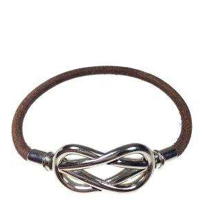 Hermès Infinity Armband Armreif aus Leder und Metall Farbe Braun Silber
