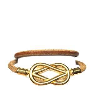 Hermès Infinity Double Tour Armband aus Leder Farbe Braun Gold