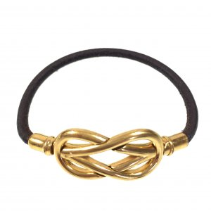 HERMÈS INFINITY SINGLE TOUR ARMBAND AUS LEDER IN DEN FARBEN GOLD/BUTTERBLUME