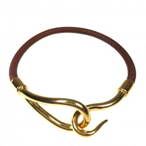 HERMÈS JUMBO SINGLE TOUR ARMBAND AUS LEDER IN DEN FARBEN GOLD/BRAUN