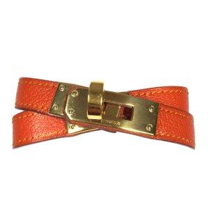 Hermès Kelly Double Tour Armband Armreif Leder Farbe Orange Gold mit Box