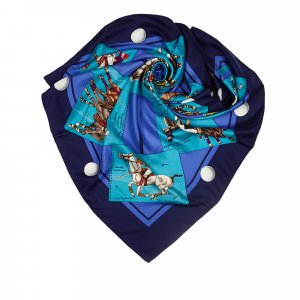 Hermès Scarf dark blue silk