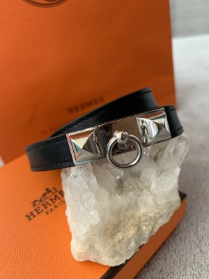 Hermès Leather Bracelet black-silver-colored