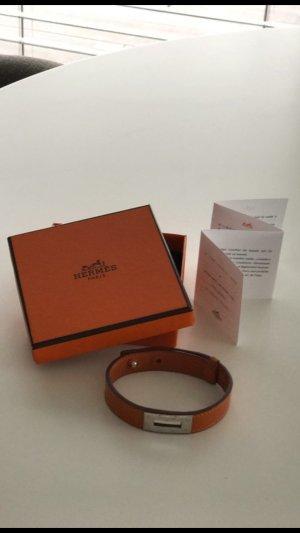 Hermès Pulsera naranja neón Cuero