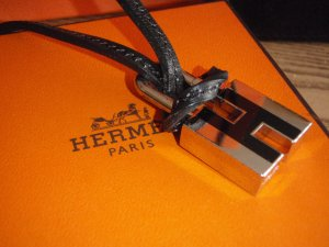Hermès Necklace black-silver-colored leather