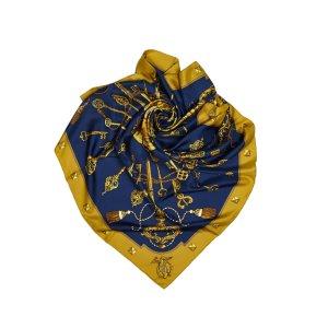 Hermès Écharpe bleu soie