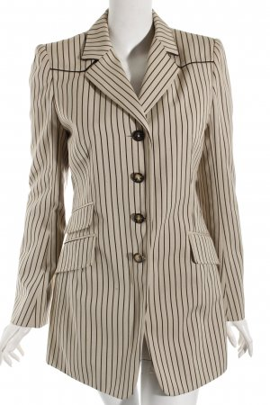 Hermès Long-Blazer hellbeige-braun Streifenmuster klassischer Stil