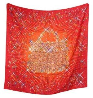 Hermès Écharpe en soie orange-rouge soie