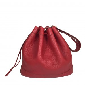 Hermès Market 28 Clemence Leder Rot Tasche Handtasche Schultertasche Bucket