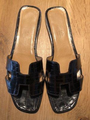 Hermès Oran Sandalen Schuhe Gr. 41 Braun Leder mit Box