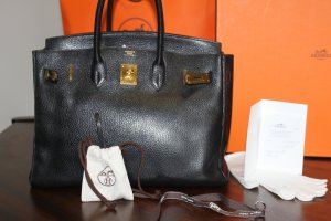 Hermès Paris Birkin Bag 35 cm schwarz gold mit Box, Dustbag, Rechnung after Spa