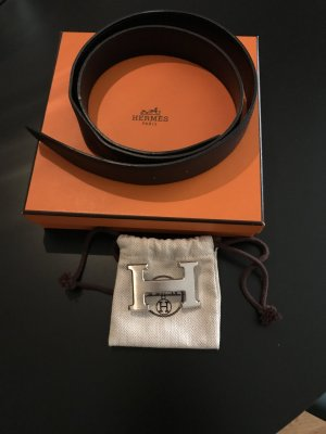 Hermès Double Belt black-dark brown leather