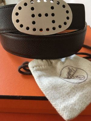 Hermes Paris Cintura reversibile marrone scuro-beige Pelle