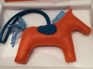 Hermes Rodeo GM Groß Taschenanhänger Pferd Orange Blau Kelly Birkin Tasche Charm