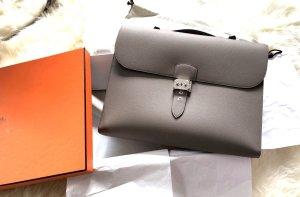 Hermès Aktentas grijs Leer