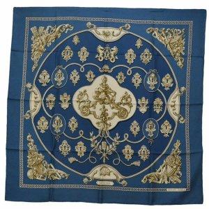 Hermès Bufanda de punto azul Seda