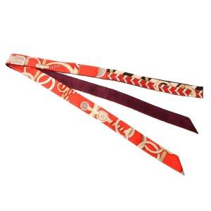 Hermès Écharpe en tricot rouge soie