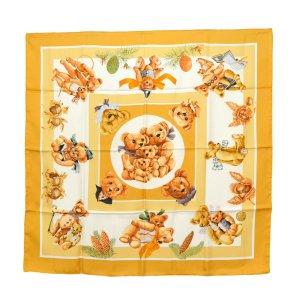 Hermès Bufanda de punto naranja Seda