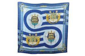 Hermès Gebreide sjaal blauw Zijde