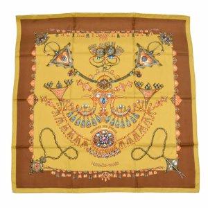 Hermès Écharpe en tricot brun soie