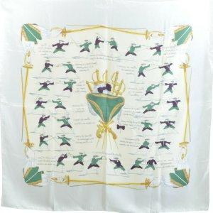 Hermès Gebreide sjaal grijs Zijde