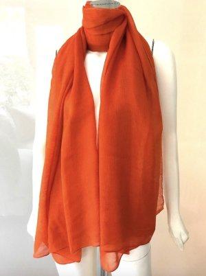 HERMES Schal Plume Stola Kaschmir Seide Orange Rot Cashmere Silk Scarf XXL
