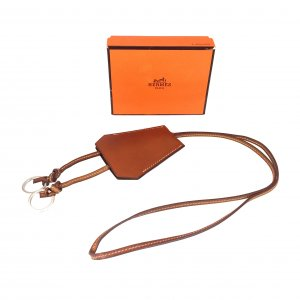 Hermès Key Chain brown-silver-colored leather
