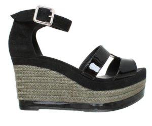 HERMÉS Schuhe 39 Sandalen Keilabsatz Schwarz Grau Leder Ilana Wedges Black + Box