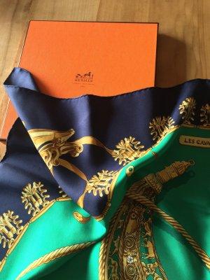 Hermès Zijden doek donkerblauw-groen