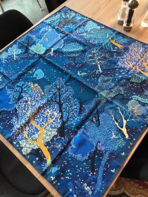 Hermès Foulard en soie bleu soie