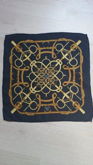 Hermès Foulard en soie doré-bleu foncé
