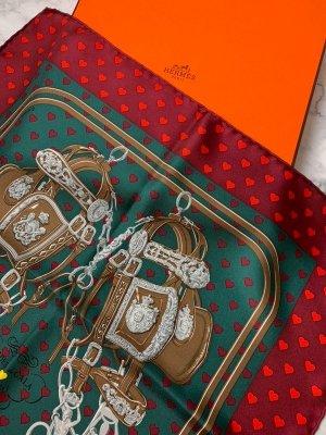 Hermès Seidentuch Original Brides de Gala Hearts rot Gavroche Seide