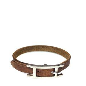 Hermès Simple Tour Armband Leder Farbe Braun Silber