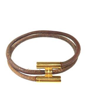 Hermès Tournis Armband Armreif aus Leder und Metall in den Farben Braun Gold