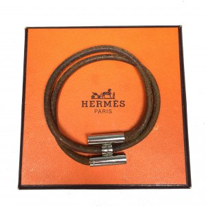 Hermès Tournis Armband Armreif Farbe Silber Braun Leder HERMES