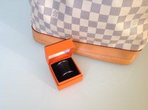 Hermès Tuch Ring Leder Schwarz 100% Original