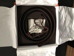 Hermès Wende-Gürtel schwarz-braun 95cm mit goldener Schnalle